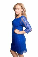 New Womens Dress Ladies Lace Frill Bodycon 3/4 Sleeves Midi Nouvelle Plus Size