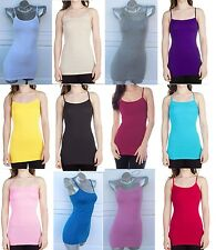 Yoga Plain LONG Spaghetti Strap Tank Top Camis Basic Dance Fit Top Shirt S/M/L