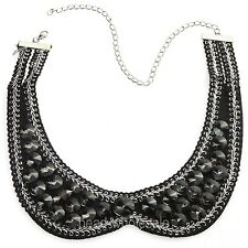 Fashion Lady's Cone Crystal Beads Silver Plated Chain Bib Collar Necklace
