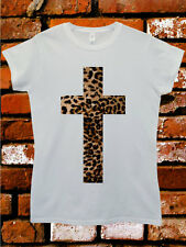 Leopard Cross Religion Cool Funny Hipster Swag White Women Top T-Shirt