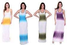 NEW SOLID MAXI DRESS Tank Basic Scoop Round Neck Racerback Summer Beach Long