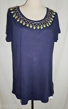 So Fabulous Beaded Tunic Top in Navy Blue Short Sleeve Long Length Size UK 16-24