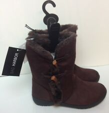 Sag Harbor Casual Winter Boots Brown Suede-Like Fuzzy Inside Size 6, 9 Paula