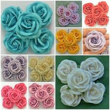 50 Pcs Mulberry Paper Artificial Large Rose Head Flower Lot Craft 5 cm./ 2 inch