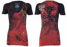 Archaic AFFLICTION Womens T-Shirt BRASS Skulls Tattoo Biker UFC Sinful S-XL $40
