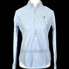 NEW POLO RALPH LAUREN WOMEN'S SOLID OXFORD BUTTON DOWN SHIRT, SLIM FIT
