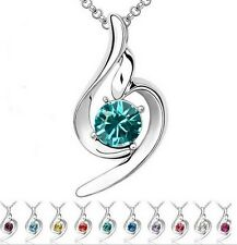 New Fashion Lady's  Chain Crystal Rhinestone Pendant  Necklace 4013