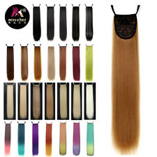 "24"" Synthetic Long Straight Ribbon Ponytail Clip In Hair Extensions 18 Colors"