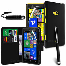 5 in 1 Accessory Pack Leather Wallet Flip Book & Hard Case For Nokia Lumia 625
