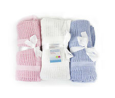 """First Steps"" 100% Pure Soft Cotton Cellular Blanket in 3 Colours 100x120cm"