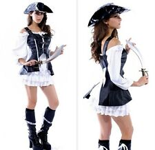 Classic Pirate Sexy Womens Ladies Maiden Fancy Dress Costume Cosplay Halloween