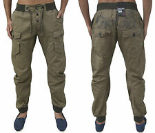 Men Designer Gio Goi Cuffed Combat Chinos Curved Leg Tapered Fit Joggers Pants