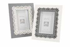 Photo Picture Frame 4x6 Vintage Lace Design White Grey Shabby Chic Home Gift