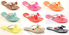 Ladies Womans Jelly Sandals Bow Summer Holiday Rubber Shoes Size 3-8 UK