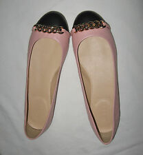 J.Crew Nora Leather Chain Cap Toe Ballet  Flats Color:Pink Retail:$150+Tax
