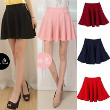 Hot High Waist Skater Mini Skirt Plain Flared Pleated A-Line Short Sexy One Size
