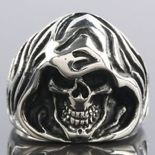Men's Heavy Stainless Steel Carved Death Skull Head Skeleton Finger Ring Jewelry