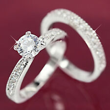 9K WHITE GOLD GF R293 LAB DIAMONDS ENGAGEMENT WEDDING GIFT WOMENS SOLID RING SET