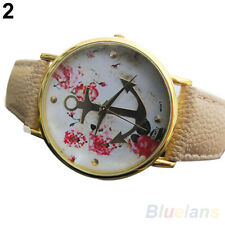 Women's Chic Popular Faux Leather Floral Printed Anchor Quartz Dress Wrist Watch