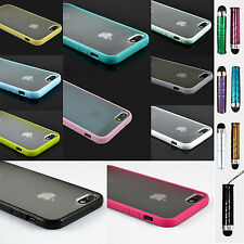 Hard Matte Clear Back Case with Soft Silicone TPU Bumper Cover for Apple iPhone!