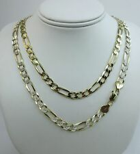 7mm Figaro Pave Chain. Vermeil Gold over Sterling Silver 2 ton, 20,22,24,30 Inch
