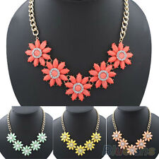 Womens Jewelry Daisy Flower Crystal Chunky Chain Statement Bib Pendant Necklace