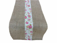 """80""""Shabby chic French country Vintage style rustic Hessian wedding table runner"""