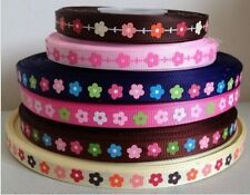 "Lowest Price! 5 yards 9mm 3/8"" Small Flowers Printed Grosgrain Ribbons DIY BOW"