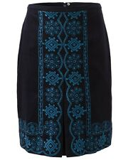 East Nia Embroidered Pencil Skirt in Blue by East