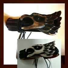 LEATHER BRACELET W/ IMITATION  BONE EAGLE HEAD/ 2 COLORS TO CHOOSE FROM