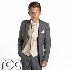 Boys Grey Suit, Page Boy Suits, Prom Suits, Boys Wedding Suits, Gold Waistcoat