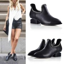 Goth Retro Womens Pointed Toe Unique Low Heels U Metal Chain Pull On Ankle Boots
