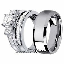 Sale His Tungsten & Hers Sterling Silver 3 Pcs CZ Princess Cut Wedding Ring Set