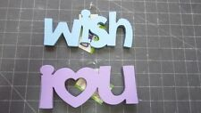 PLAID WOOD SAYINGS & WORDS : WISH - IN BLUE, I LOVE YOU - PURPLE