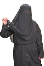 Niqab Three Layered Hijab Face Veil Burka Khimar Islamic Worship Clothing