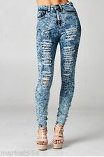 PLUS Size Cello Acid Wash Destroyed Skinny Jeans Women Big ripped High Waist Fit