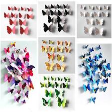 12pcs 3D Wall Sticker Butterfly Home Decor APLE Room Decoration Stickers 7Colors