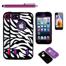 Zebra Heavy Duty Hybrid Rugged Case Cover + touchpen + Screen Film for iPhone 5