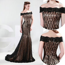Vintage Black Lace Cocktail Formal Prom Bridesmaid Gown Party Evening Long Dress