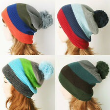 Women Men Unisex-Head-warming Knitted Rib Pom-Pom Skull Winter Beanies Hat