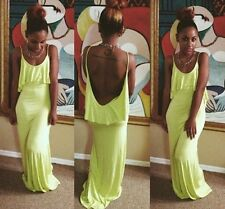 Sexy long yellow backless holiday maxi prom dress celeb evening party cocktail