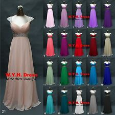 Elegant 2015 New Long Cap Sleeve Evening Prom Dresses Bridesmaid Dress Gown Size