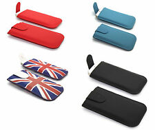 NEW Pull Out Tab Leather Flip Slide In Case Cover Holder Fit Slim Pouch Sleeve