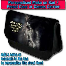 PERSONALISED BLACK BEAUTY HORSE PENCIL CASE GAMES TRAVEL MAKE UP BAG ST083