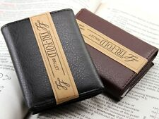 New Mens Trifold Genuine Leather Wallet Billfold Credit Card Window ID License A