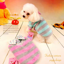 Small Puppy Cat Dog Sweaters Jacket Stripe Pet Clothes Warm Fleece Shirt Coat