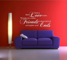 LOVE FRIENDS MEMORY FAMILY WALL ART QUOTE PHRASE STICKER DECAL MURAL TRANSFER