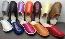 Brand New Womens shearling sheepskin mouton Fur slippers scuffs w real leather
