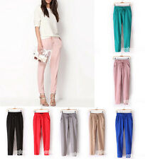 Women Fashion Drawstring Elastic Waist Chiffon Harem Pants Casual Trousers