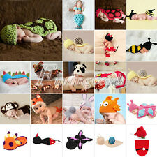 Cute Knit Animal Baby Crochet Knit Costume Photography Photo Prop Hat Outfit Lot
